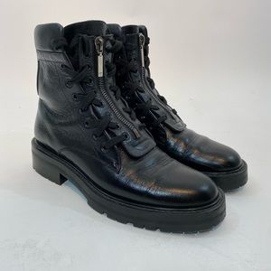 YSL Saint Laurent Black Combat Boots